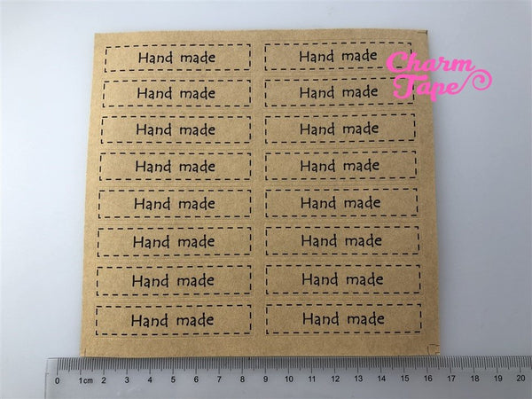 "80/160ct ""HAND MADE"" 7x1.5 Kraft Paper Stickers For Gift Packing Packaging 5/10 sheets GS037"