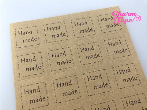 "100/200ct ""hand made"" 2x2 Kraft Paper Stickers For Gift Packing Packaging 5/10 sheets GS026"