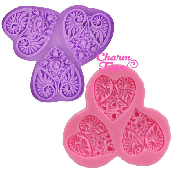 Heart & Roses Food Graded Silicone Mold for Cake, Fondant, Nature Theme Cake Decorating Supplies 3 cavity H1776
