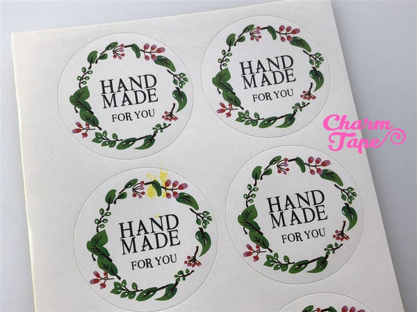 "30/60ct HANDMADE WITH 1.57"" Round Paper Stickers For Gift Packing Packaging 5/10 sheets GS017"