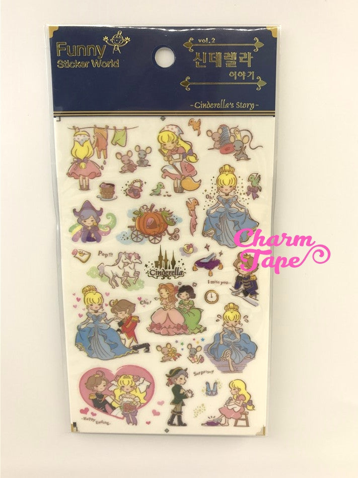 Cinderella Scrapbook Gold Foil Sticker by Funny ss330a