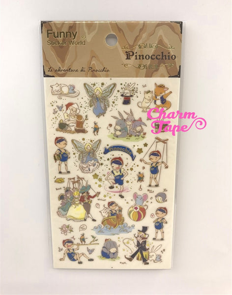 Pinocchio Scrapbook Gold Foil Sticker by Funny ss330d