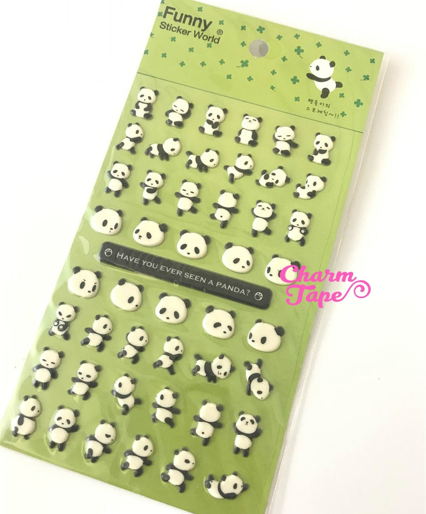 Dancing Panda PUFFY Deco sticker by Funny Korea 1 Sheets SS468