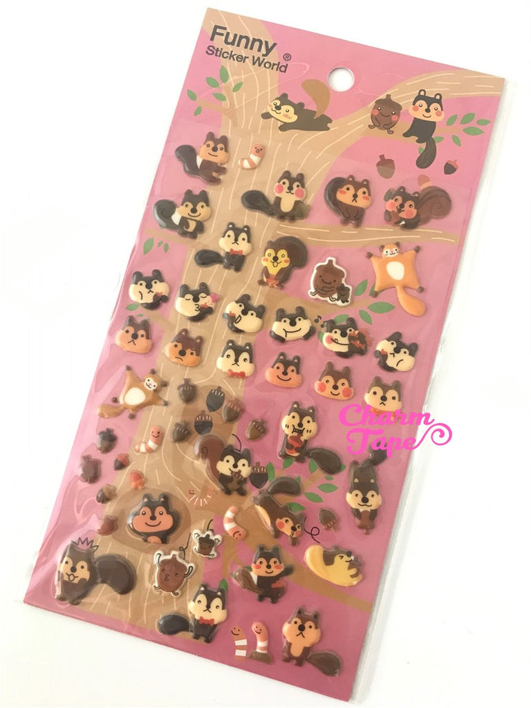 Squirrels Puffy stickers by Funny 1 Sheets SS236