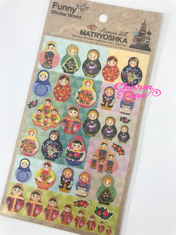 Colorful Matryoshka Russian Dolls stickers SS282