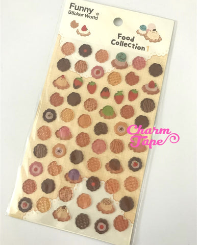 Waffle with ice-cream Gel Stickers Set by funny SS1018