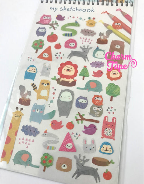 Sketchbook Animals plastic stickers by Funny Korea - 1 Sheets SS256