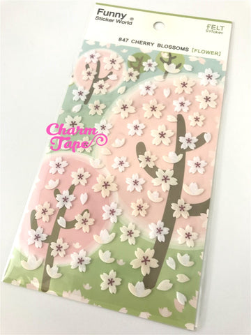 Felt Cherry Blossoms Deco sticker by Funny 1 Sheets ss443