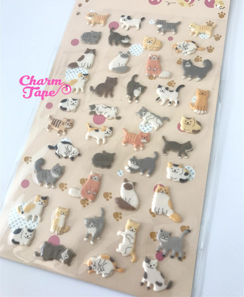 Cat Kitten Puffy Stickers Set Deco Sticker 1 Sheets SS802