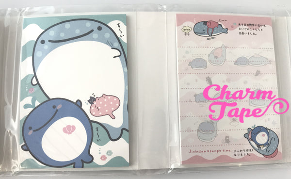 Jinbesan Mini Memo Pad with  Whale Erasers by San-x from Japan