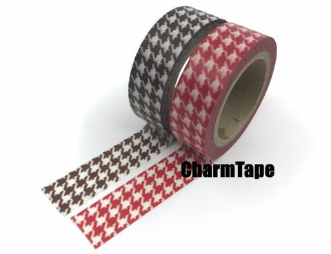 Brown or Red Houndstooth Washi Tape 15mm x 8m WT218