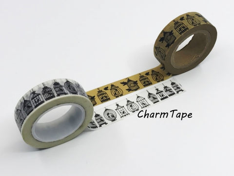 Black Bird Cage silhouette Washi Tape 15mm x 10m WT268 - CharmTape - 1