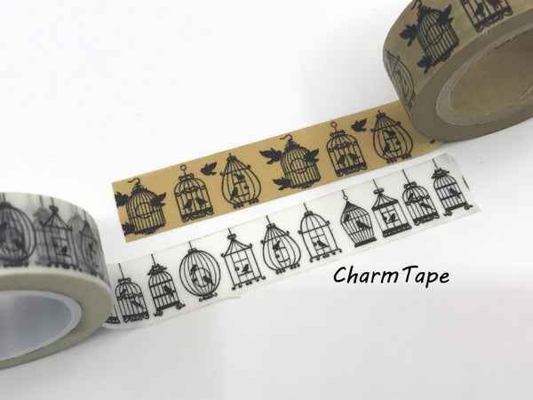 Black Bird Cage silhouette Washi Tape 15mm x 10m WT268 - CharmTape - 2