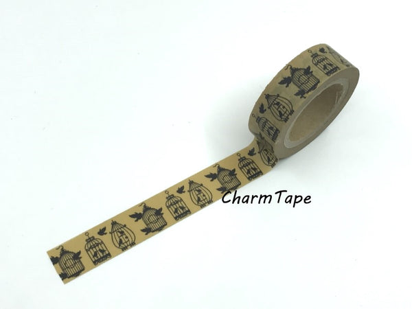 Black Bird Cage silhouette Washi Tape 15mm x 10m WT268 - CharmTape - 3