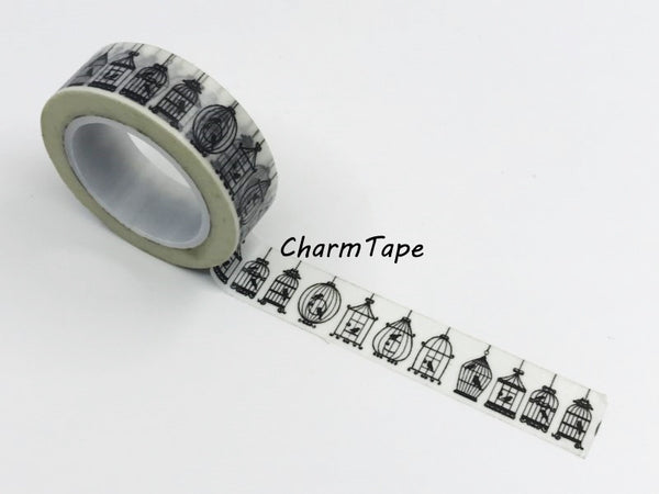 Black Bird Cage silhouette Washi Tape 15mm x 10m WT268 - CharmTape - 5