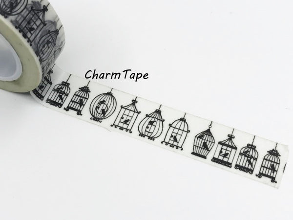 Black Bird Cage silhouette Washi Tape 15mm x 10m WT268 - CharmTape - 6