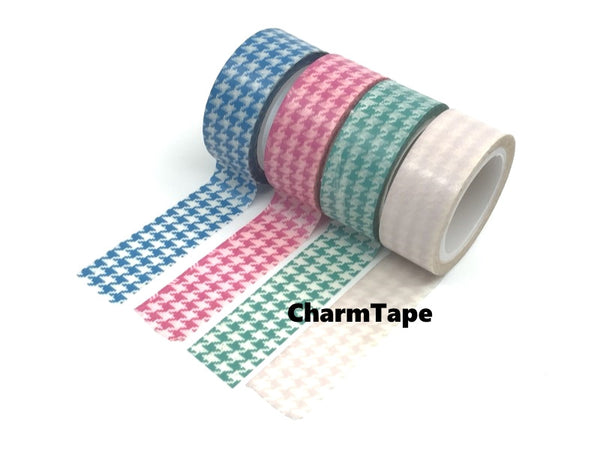 Blue, Green & Pink Houndstooth on White Washi Tape 15mm x 10m WT563 - CharmTape - 2