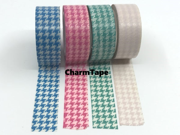 Blue, Green & Pink Houndstooth on White Washi Tape 15mm x 10m WT563 - CharmTape - 3