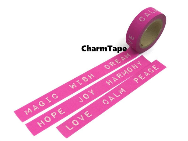 Washi tape - love, peace, magic - 15mm Wide - 11 yards  WT428 - CharmTape - 1