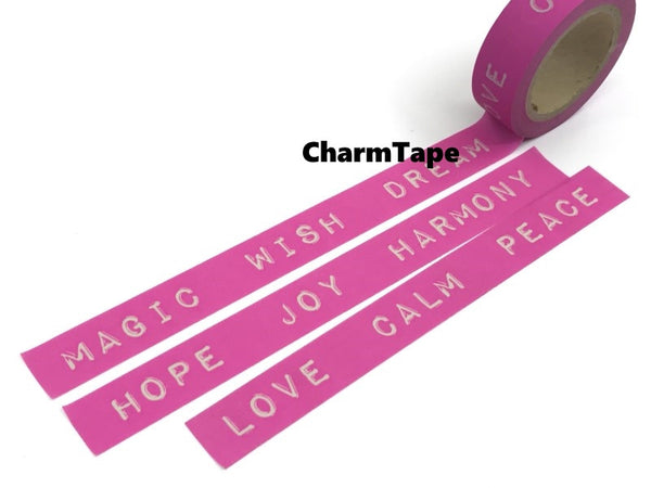 Washi tape - love, peace, magic - 15mm Wide - 11 yards  WT428 - CharmTape - 2