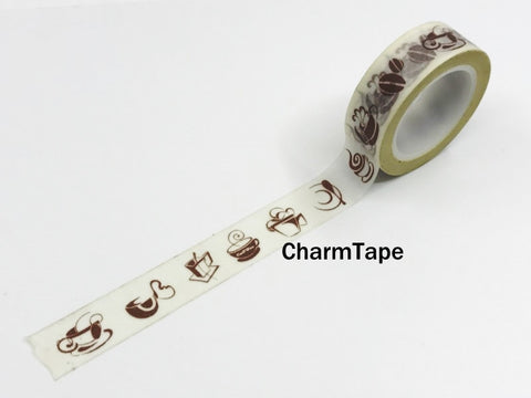 Washi Tape Coffee and Cafe 15mm x 10m WT970 - CharmTape - 1