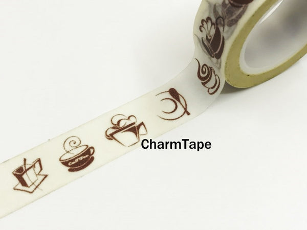 Washi Tape Coffee and Cafe 15mm x 10m WT970 - CharmTape - 3