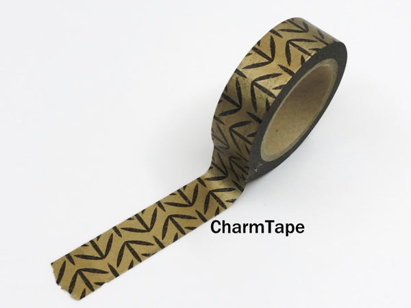 Washi Tape Bright Shiny Metallic Copper and Black 15mm x 10m WT971 - CharmTape - 1