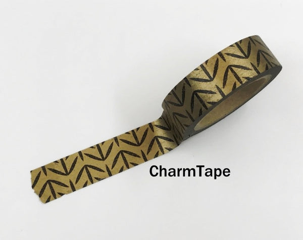 Washi Tape Bright Shiny Metallic Copper and Black 15mm x 10m WT971 - CharmTape - 2