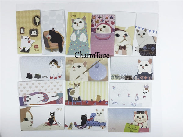Choo Choo cat adhesive Stickers & petit card Set 60 Sheets - CharmTape - 2