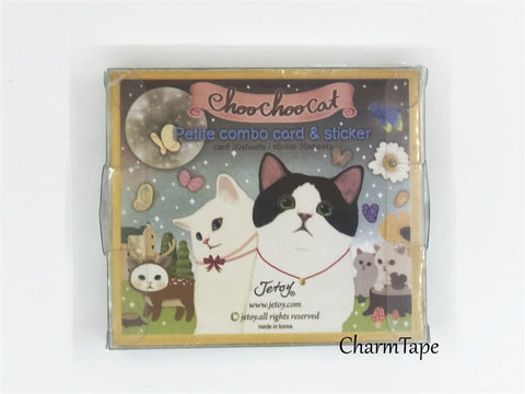 Choo Choo cat adhesive Stickers & petit card Set 60 Sheets - CharmTape - 1