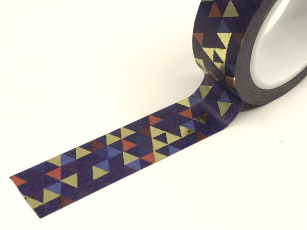 Navy Blue Geometric Triangles Gold Foil Washi Tape Roll 15mm x 10meters WT917