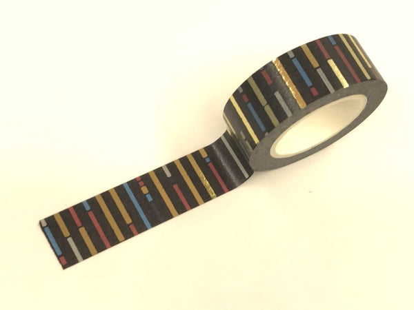 Black Stripes Gold Foil Washi Tape Roll 15mm x 10meters WT918