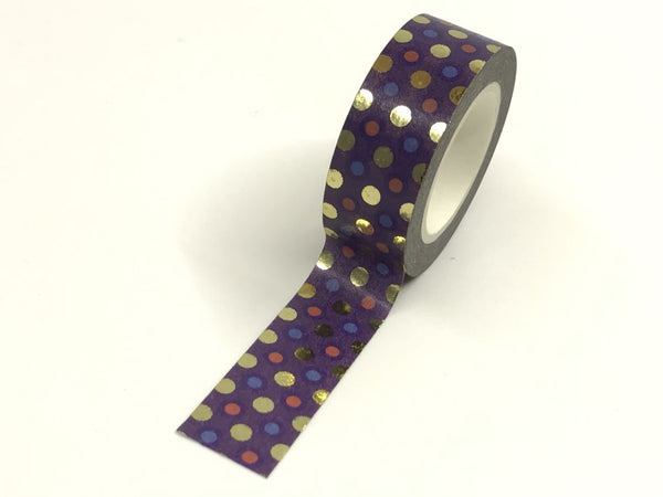 Purple Gold Foil Washi Tape 15mm x 10 meters Gold Foil Dots WT920 - CharmTape - 2