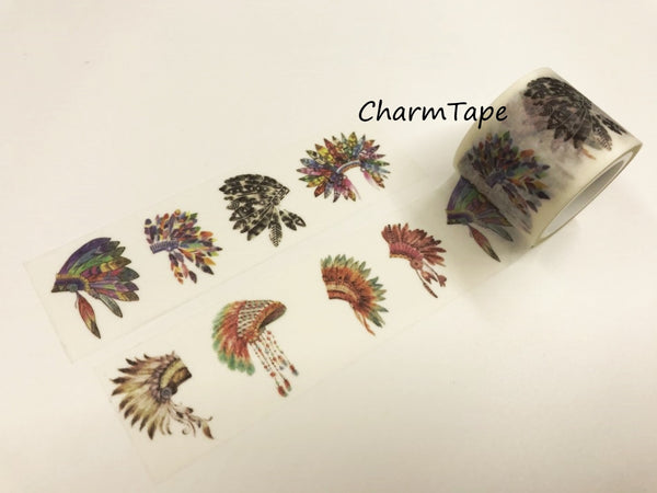 Tribal Feathers Headdress Big Washi Tape 30mm x 5 meters WT923