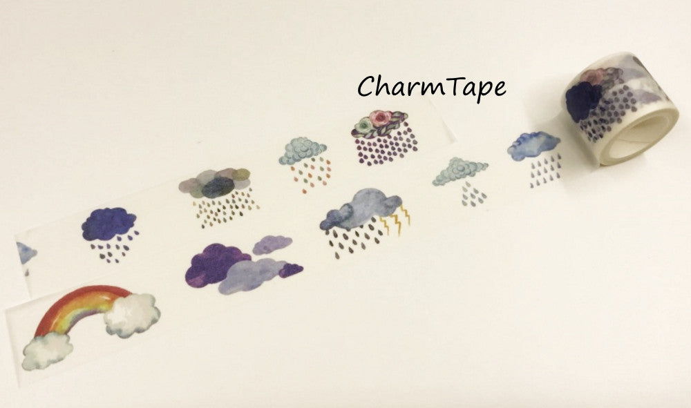 Raining Cloud Big Washi Tape (30mm x 5 meters) WT930 - CharmTape - 1