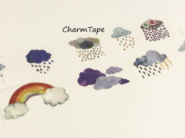Raining Cloud Big Washi Tape (30mm x 5 meters) WT930 - CharmTape - 2