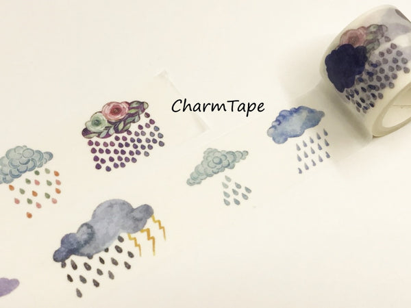 Raining Cloud Big Washi Tape (30mm x 5 meters) WT930 - CharmTape - 3