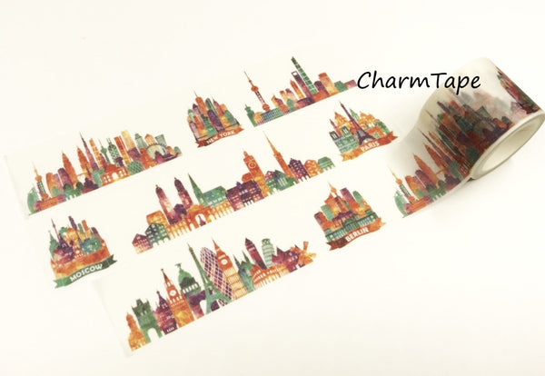 Colorful City Big Washi Tape (30mm x 5 meters) WT931 - CharmTape - 1