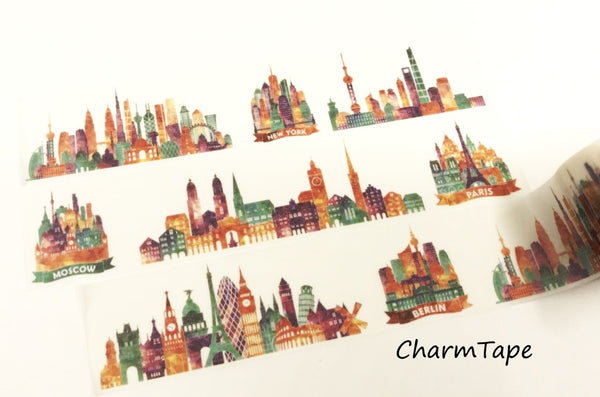 Colorful City Big Washi Tape (30mm x 5 meters) WT931 - CharmTape - 2