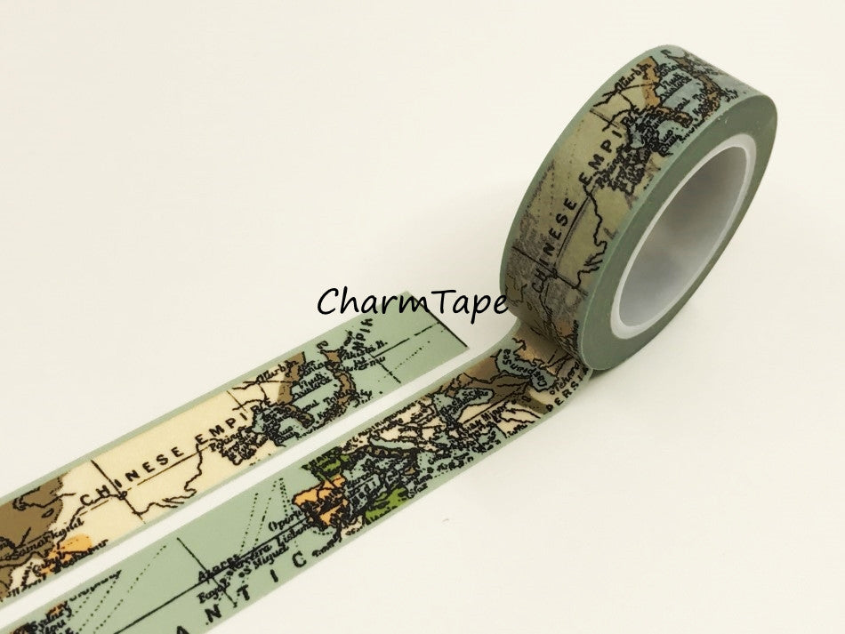 World Map Washi tape 15mm x 10 m WT941