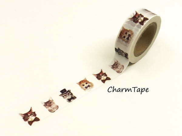 Cat In Suit Washi tape 15mm x 10m WT947 - CharmTape - 2