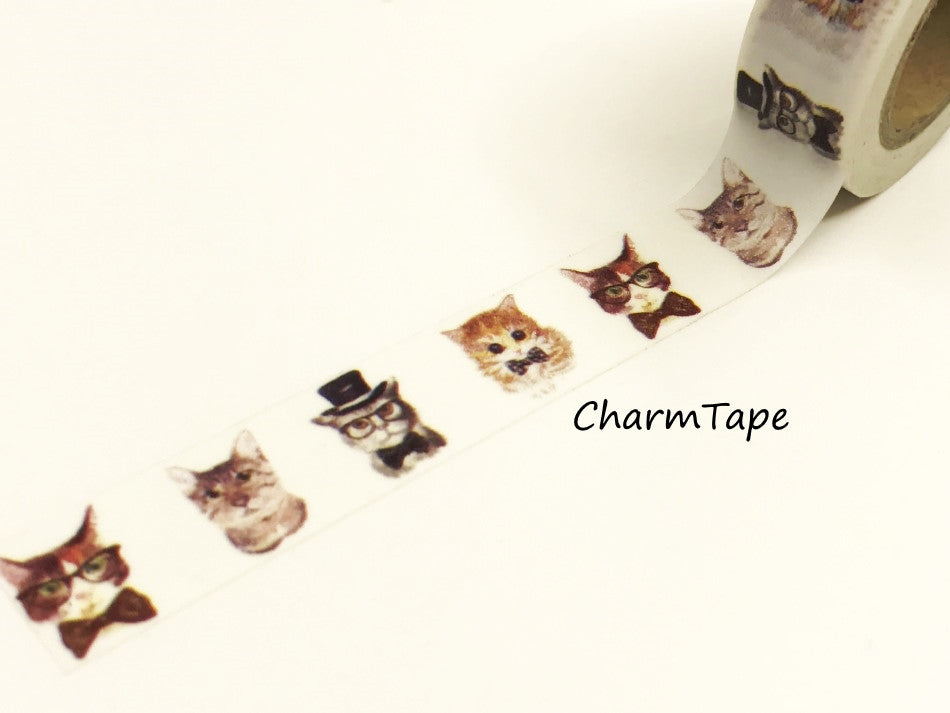 Cat In Suit Washi tape 15mm x 10m WT947 - CharmTape - 1