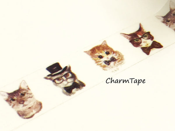 Cat In Suit Washi tape 15mm x 10m WT947 - CharmTape - 3