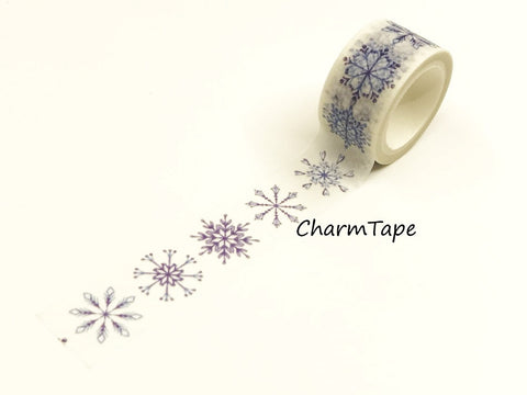 Blue Snowflakes Washi Tape Roll (20mm x 5m) WT948 - CharmTape - 1