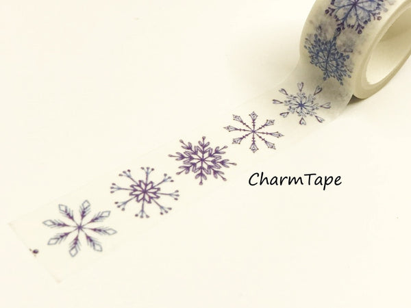 Blue Snowflakes Washi Tape Roll (20mm x 5m) WT948 - CharmTape - 2