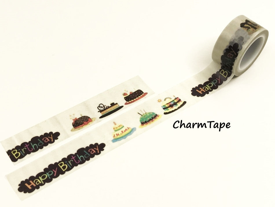 Birthday Cakes Washi Tape Roll (20mm x 5m) WT952 - CharmTape - 1