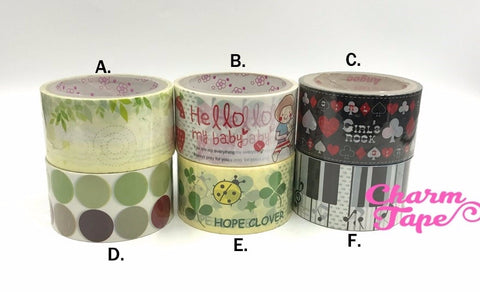 Deco Duct Tape adhesive Stickers - Dots / ladybug / paino / leaf Jumbo size DTB160
