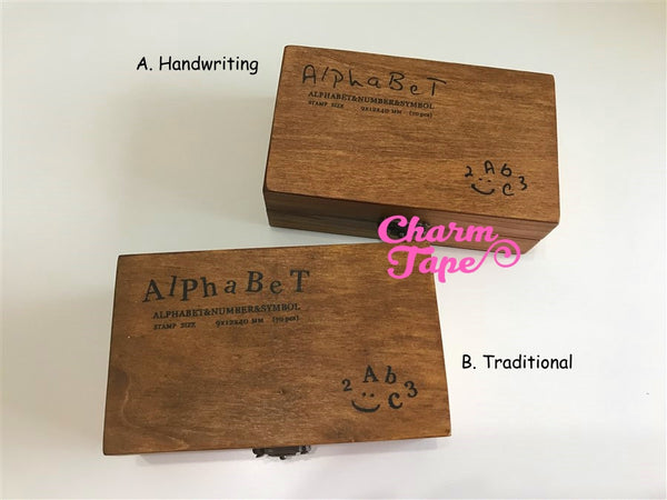 Alphabet Stamps set Uppercase,  Lowercase & Numbers 1 wooden box 70 pieces (Handwriting or Traditional)
