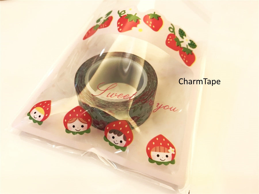 Strawberry Girls Gift Bags Cello Bags Self-adhesive Cookie bags Set of 20 bags CB3