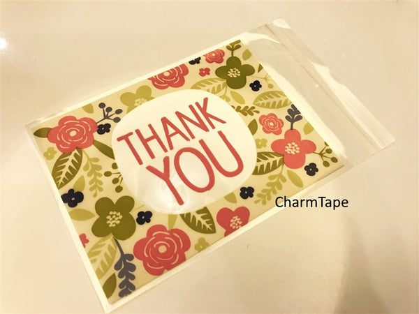Thank You Bags // Cello Bags // Poly Bags // Self Sealing bags // Wedding Favor Bags // Party Thank You Bags Set of 20 bags CB11 - CharmTape - 1